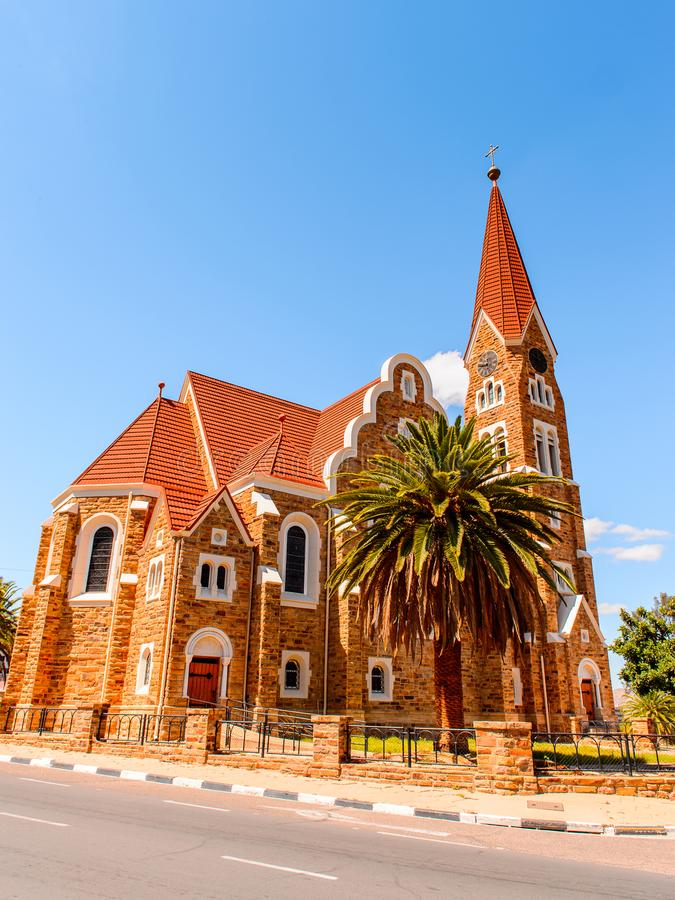 Architecture of Windhoek, Namibia. WINDHOEK, NAMIBIA - JAN 3, 2016: Christuskirche of Windhoek, Namibia. Windhoek is the capital and the largest city of Namibia royalty free stock images