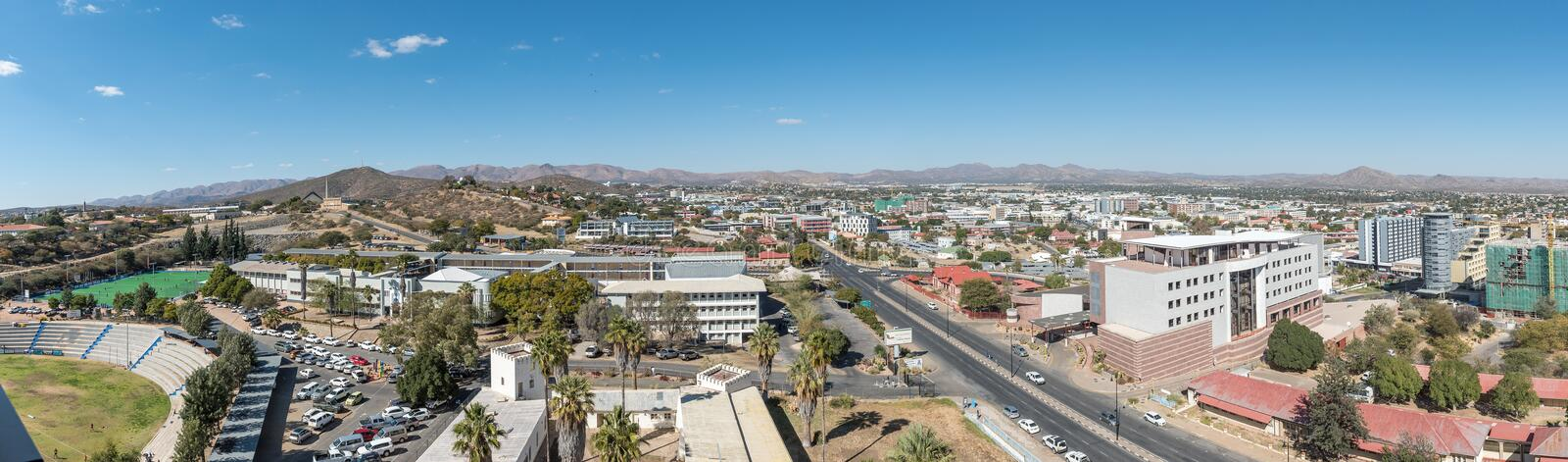 Aerial panorama of the southern parts of Windhoek royalty free stock photos
