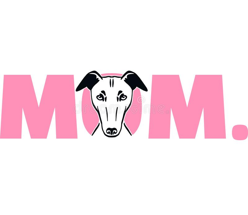Windhondmamma in roze stock illustratie