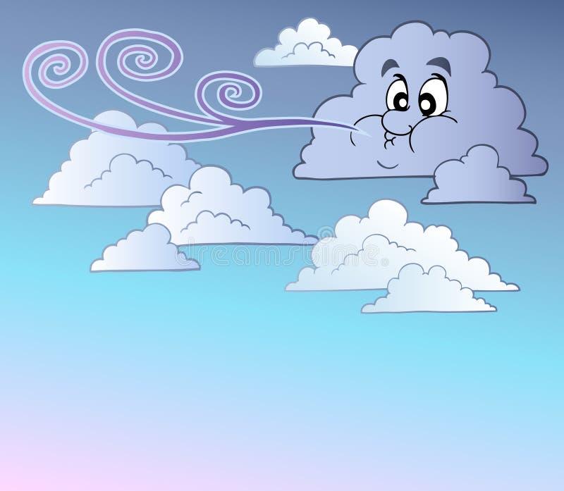 Windiger Himmel mit Karikaturwolken lizenzfreie abbildung