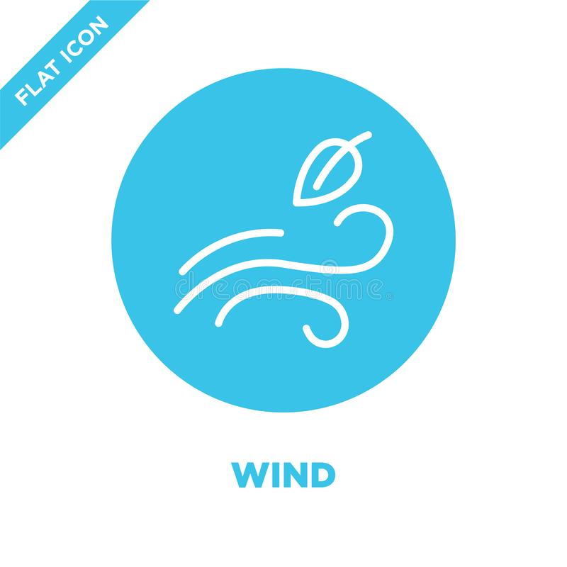 Windikonenvektor von der Wettersammlung Dünne Linie Windentwurfsikonen-Vektorillustration Lineares Symbol für Gebrauch auf Netz u vektor abbildung
