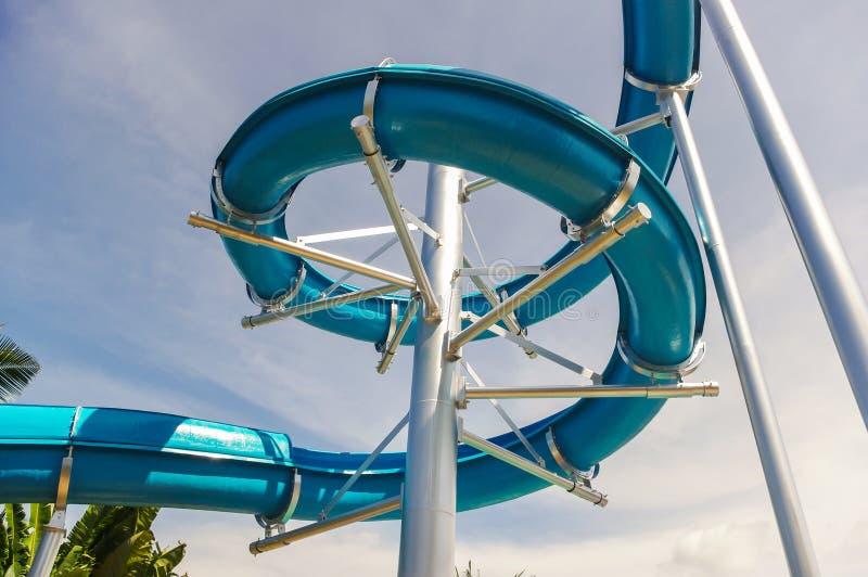 Windind slider. Winding slides of the aquapark stock photo