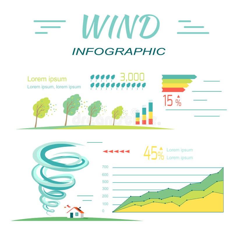 Windinfographics Tornado en orkanenbanners vector illustratie