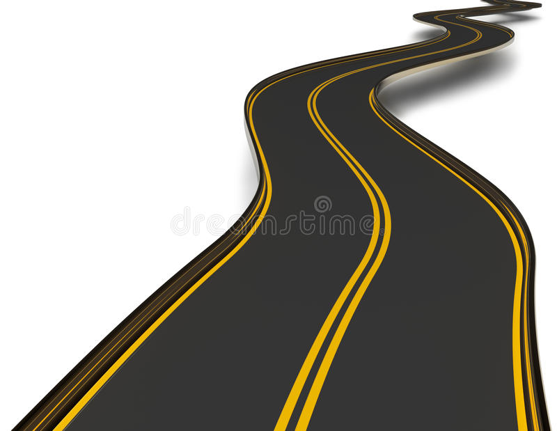 Download Winding Asphalt Road With Double Dividing Strip Stock Image - Image: 25339041