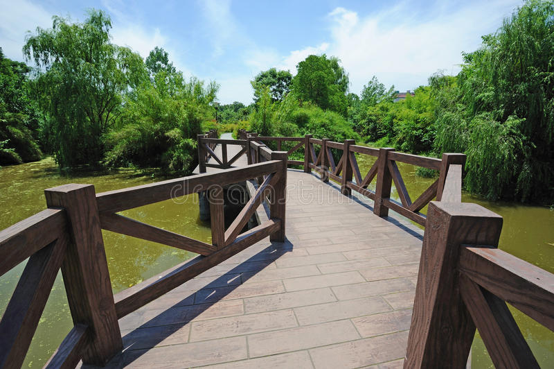 Winding bridge under blue sky