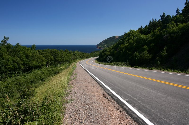 Winding Cabot Trail. Cabot Trail. Cape Breton Highlands National Park. Nova Scotia. Canada stock photography