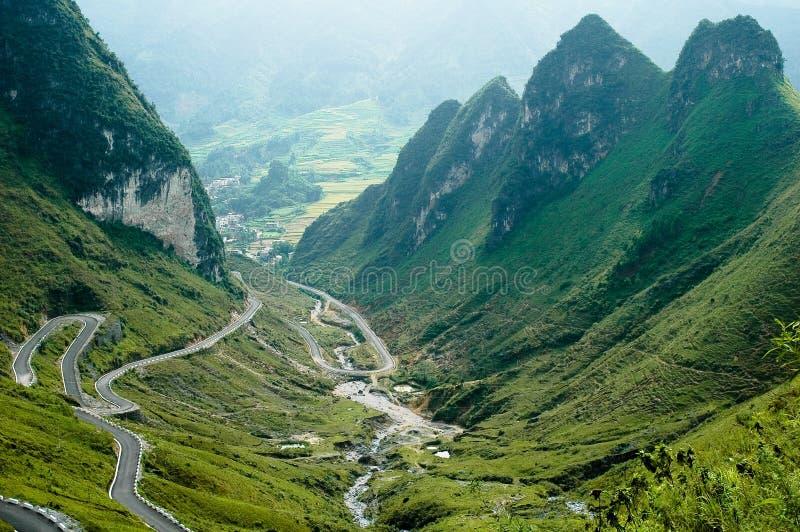 Winding China mountain road