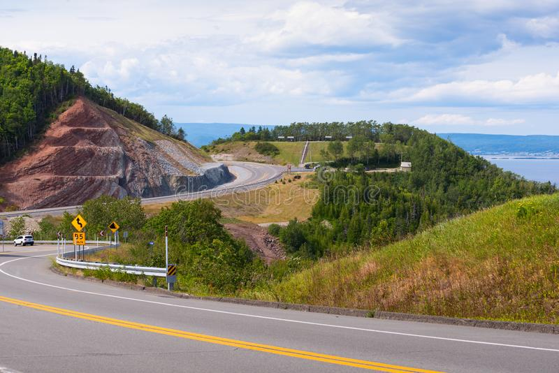 Winding coastal road in Gaspe Quebec. Winding coastal road / route 132 in Gaspe, Quebec stock photos