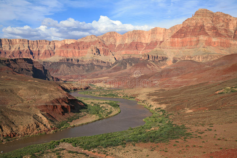 Winding Colorado River through Grand Canyon stock images
