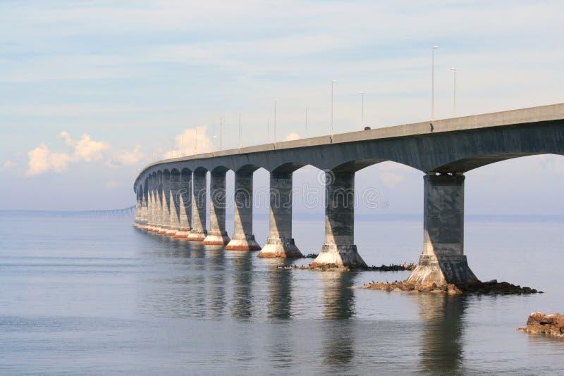 Winding Confederation Bridge. The Confederation Bridge linking New Brunswick and Prince Edward Island. Canada royalty free stock images