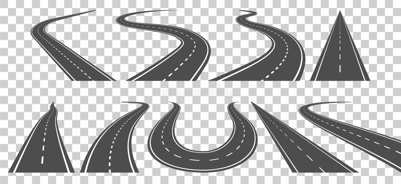 Winding curved road or highway with markings. vector illustration