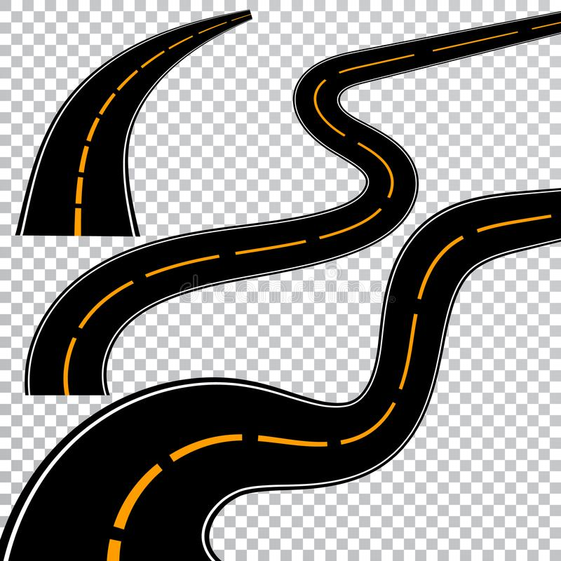 Winding curved road or highway with markings. Direction, transportation set. Vector illustration.  royalty free illustration