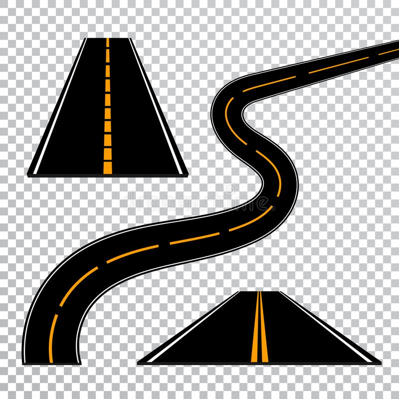 Winding curved road or highway with markings. Direction, transportation set. Vector illustration.  stock illustration