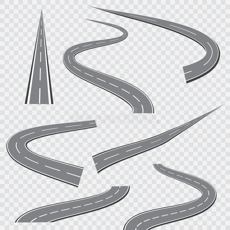 Winding curved road or highway with markings. Vector illustration.  stock illustration
