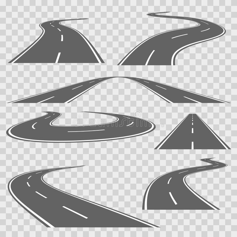 Winding curved road or highway with markings. Vector set. Winding curved road or highway with markings. Direction road, curve road, highway road, road stock illustration