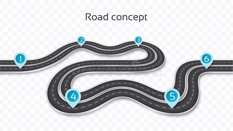 Winding 3D road concept on a transparent background. Timeline te stock illustration