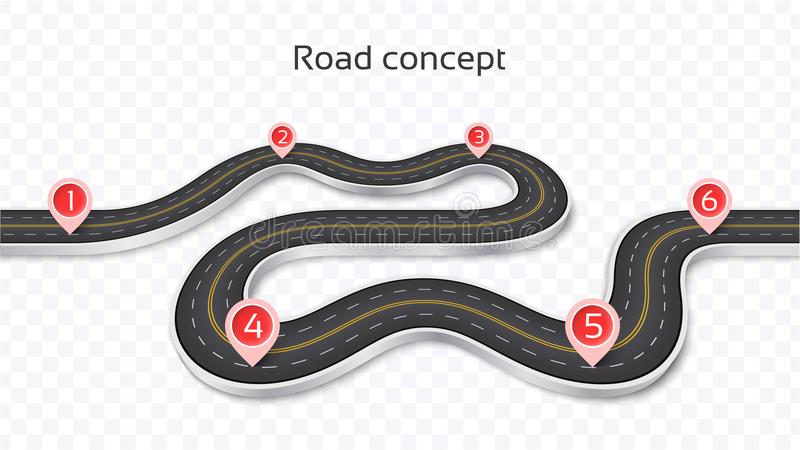 Winding 3D road concept on a transparent background. Timeline te royalty free illustration