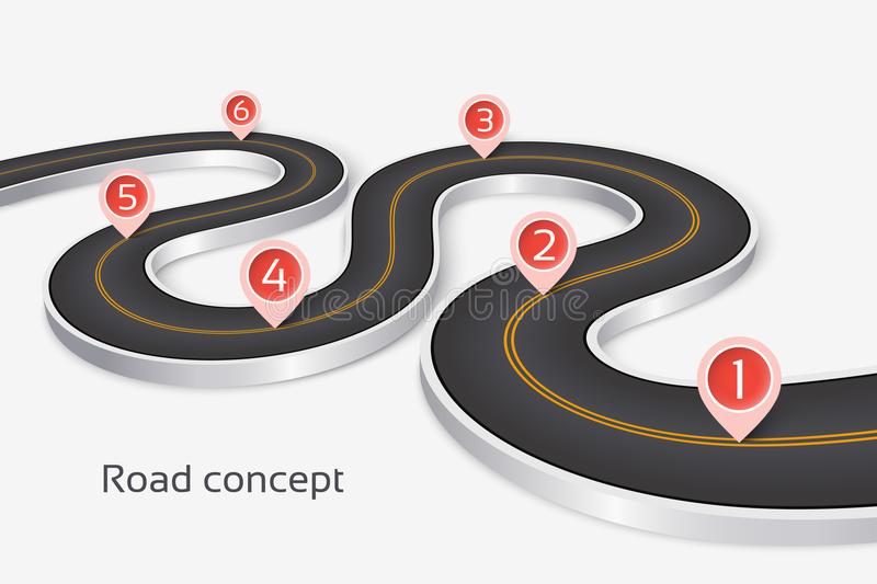 Winding 3d road infographic concept on a white background. Timeline template stock illustration
