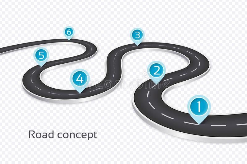 Winding 3d road infographic concept on a white background. Timeline template royalty free illustration
