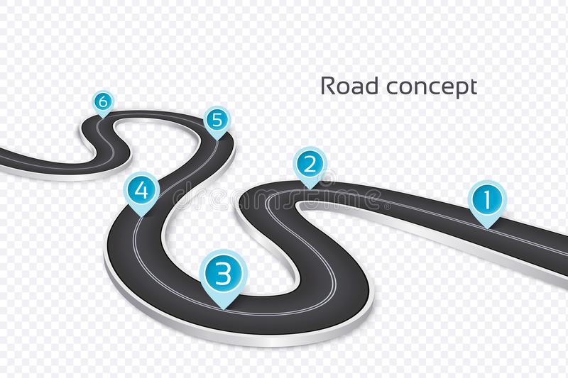 Winding 3d road infographic concept on a white background. Timeline template vector illustration