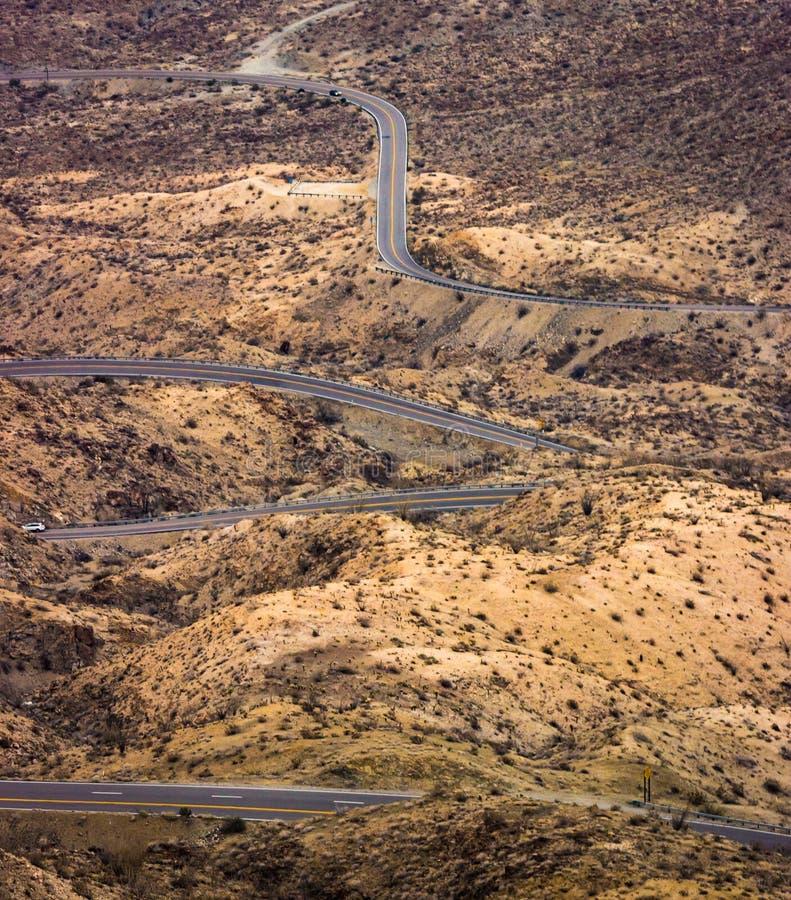 Winding desert road. Winding Palms to Pines Highway desert road in the Coachella Valley, Palm Desert, CA stock photography