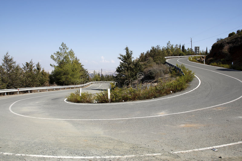 Winding mountain road in cyprus. Empty mountain road on the F106 toward stavrovouni cyprus stock photos