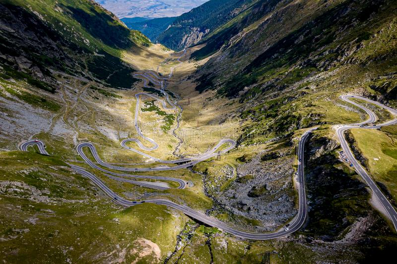 Winding mountain road. Transfagarasan is one of the most spectacular mountain roads in the world royalty free stock photo