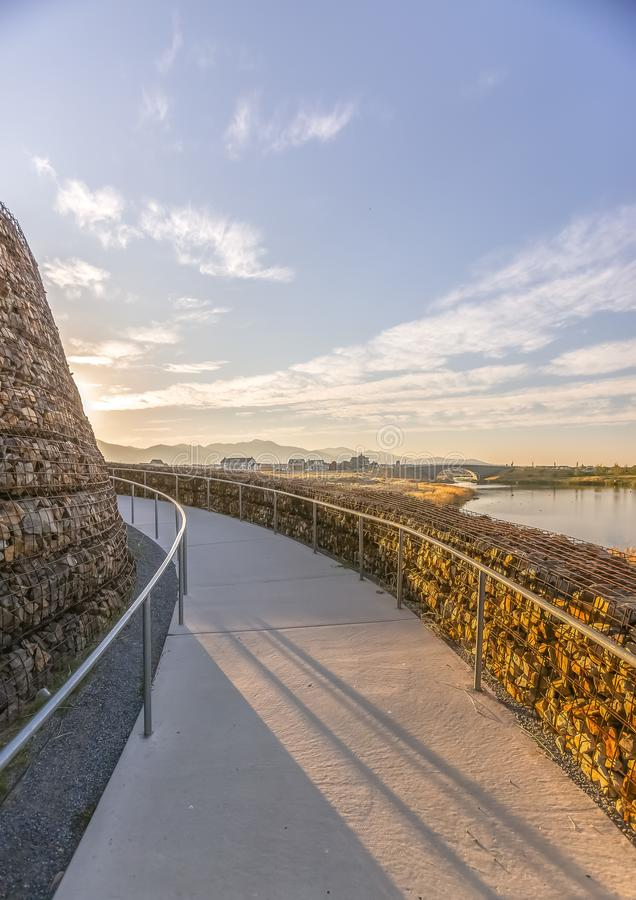 Free Winding Path Overlooking Oquirrh Lake And Bridge Royalty Free Stock Images - 138128539