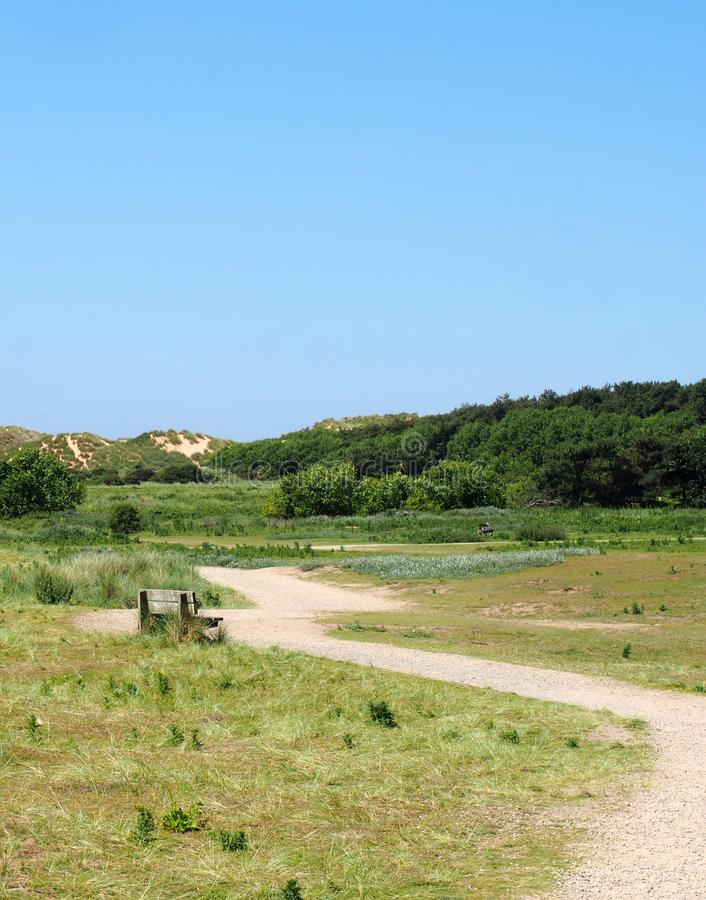 A winding path through sand dunes and grass on the merseyside coast near formby stock image