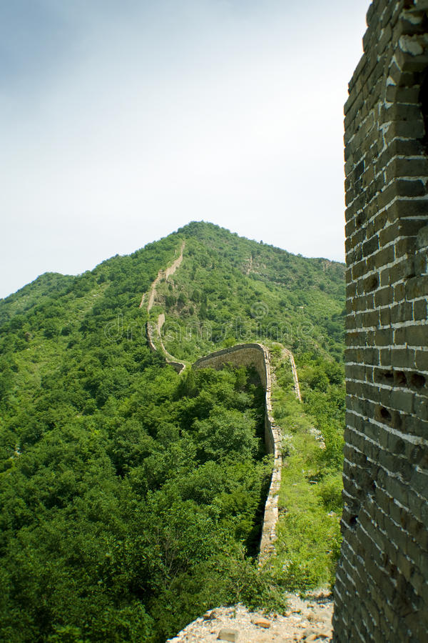 Winding profile of the great wall from a watchtowe royalty free stock photo