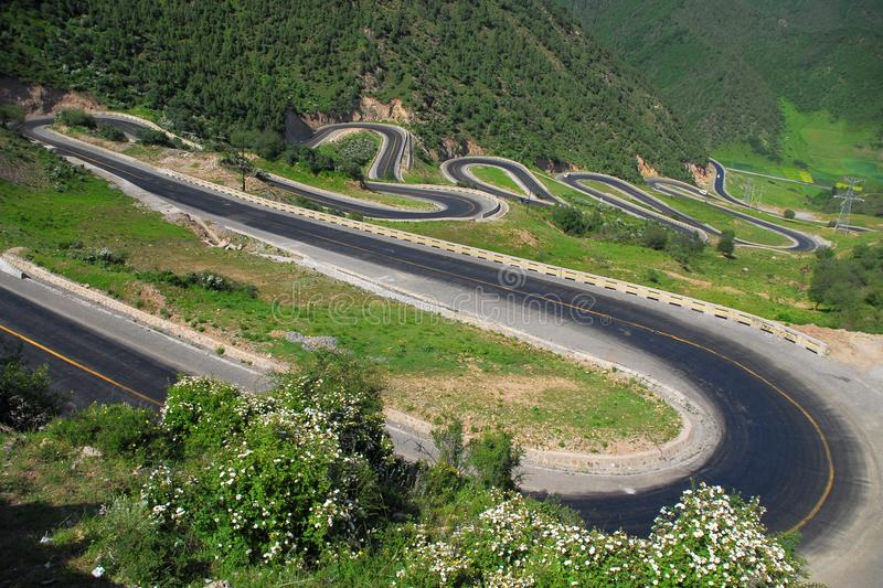 Winding road. The winding road in china stock photography