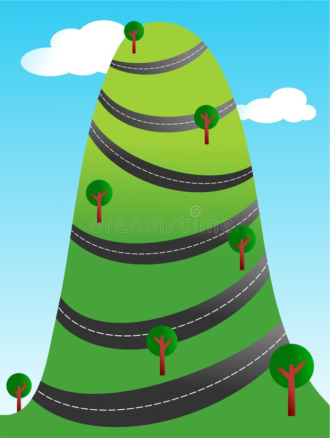 Winding road. Country road winding around a steep hill vector illustration