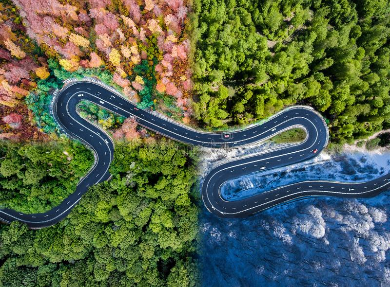 Winding road in all four seasons. Aerial view of a curved highway trough the forest. Composite drone roadway image royalty free stock image