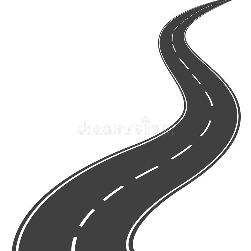 Winding road. Winding asphalt road with markings leading into the distance on a white background. Vector illustration vector illustration