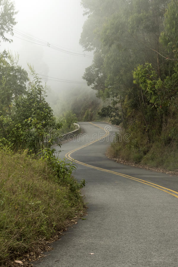Winding road with barrier in the mountains with fog in a cold winter day. At campos do jordao brazil stock image