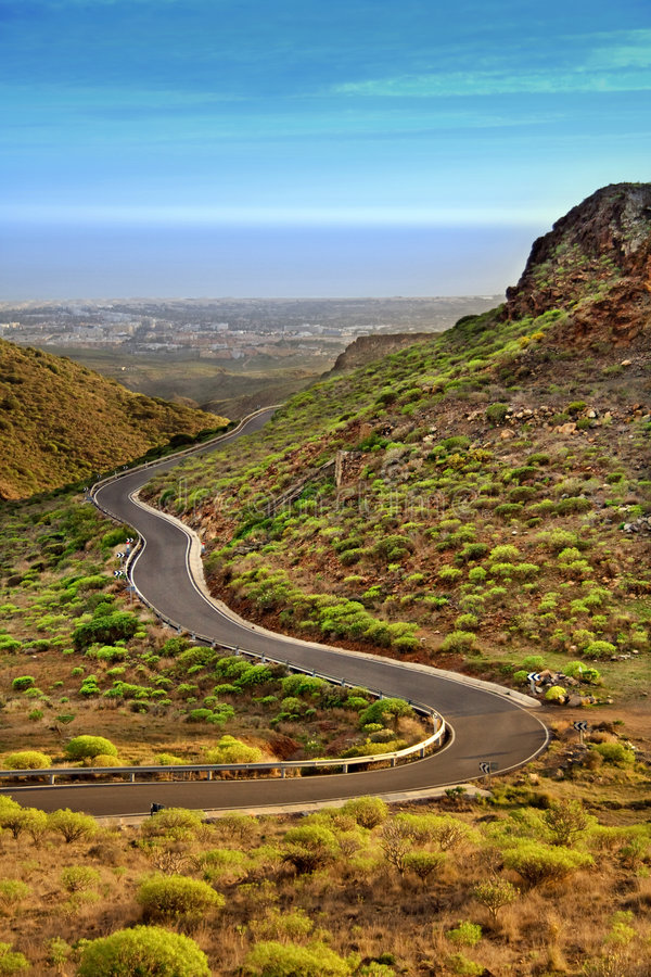 Winding road in Canary mountains royalty free stock images