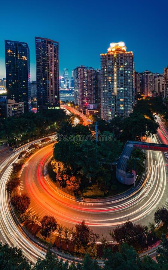 Winding road through city. Winding road throught Chongqing city, China stock photography