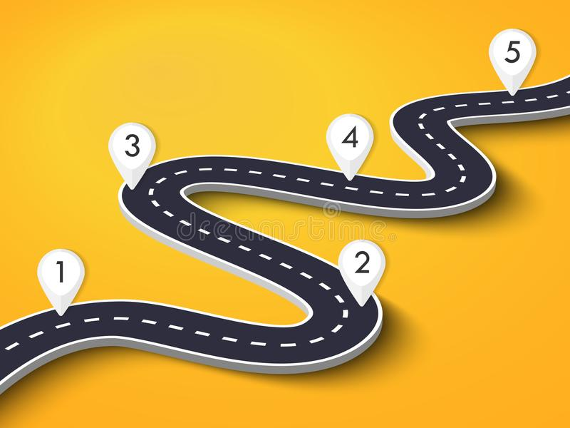 Winding Road on a Colorful Background. Road way location infographic template with pin pointer. Vector EPS 10 stock illustration