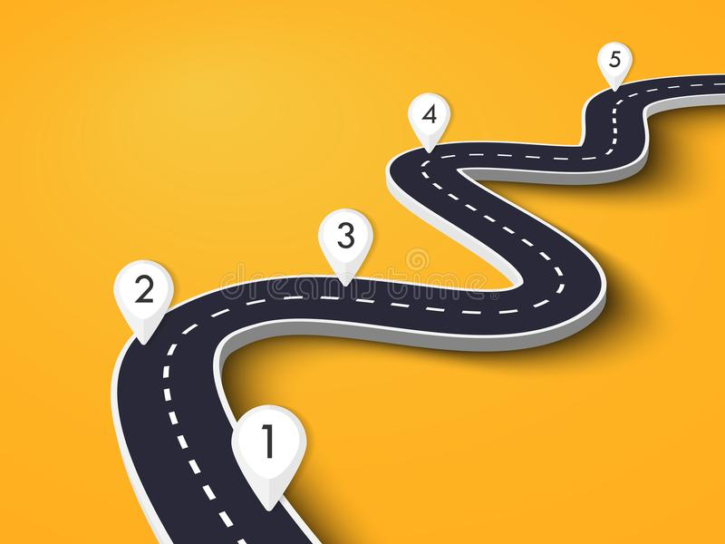 Winding Road on a Colorful Background. Road way location infographic template with pin pointer. EPS 10. Winding Road on a Colorful Background. Road way location stock illustration