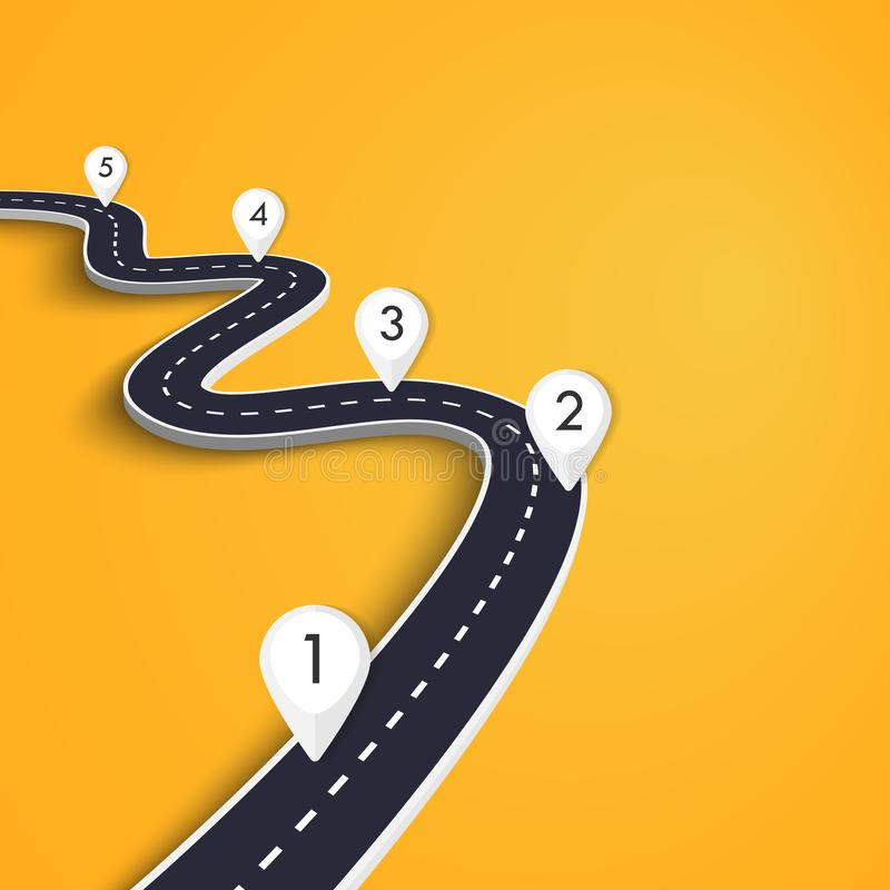 Winding Road on a Colorful Background. Road way location infographic template with pin pointer. EPS 10. Winding Road on a Colorful Background. Road way location royalty free illustration