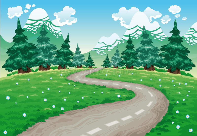 Winding road in countryside stock illustration