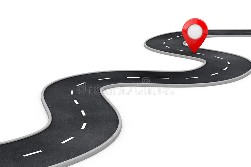 Winding Road with Destination Red Pin Target Pointer in the End of Road. 3d Rendering stock illustration