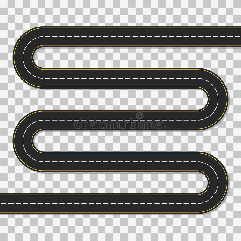 Winding road. Empty template of difficult route. Winding road. Concept a long and difficult path or stages of the project. Vector illustration of asphalt road stock illustration