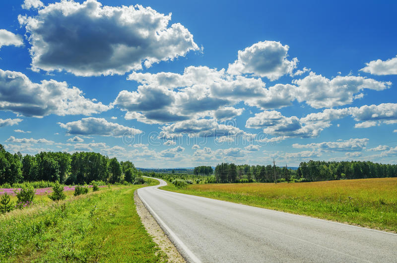 Winding road in the fields. Summer landscape. The winding road disappearing into the distance royalty free stock images