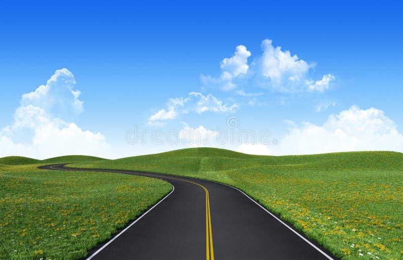 Winding road. Among green hills royalty free illustration