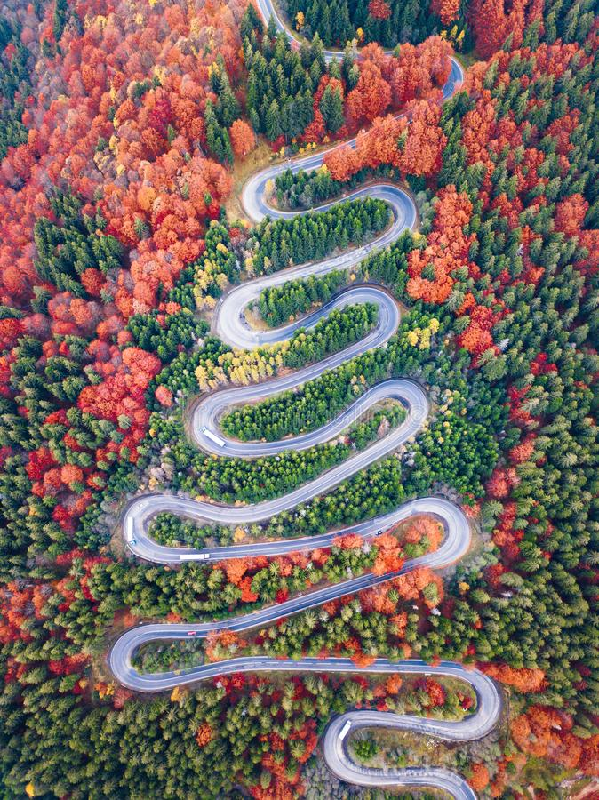 Winding road from high mountain pass, in autumn season, with orange forest. Aerial view by drone. Romania stock image