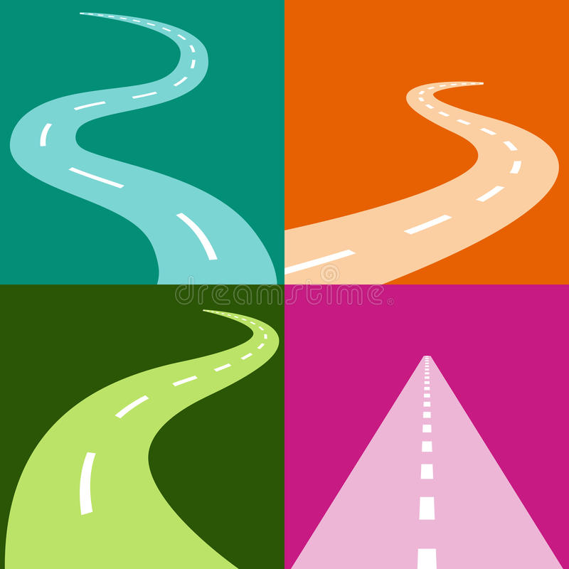 Winding Road Icon Set. An image of a winding and curving road icon set royalty free illustration