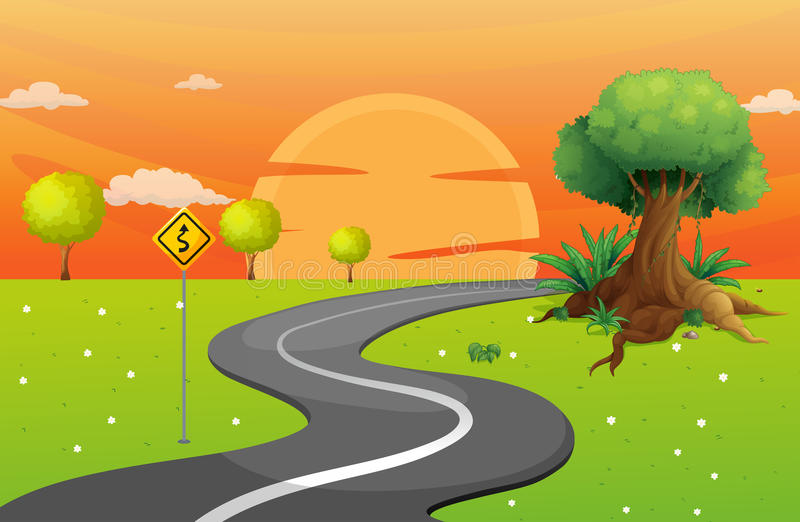 A winding road. Illustration of a winding road royalty free illustration