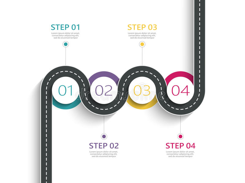 Winding road infographic template with a phased structure stock illustration