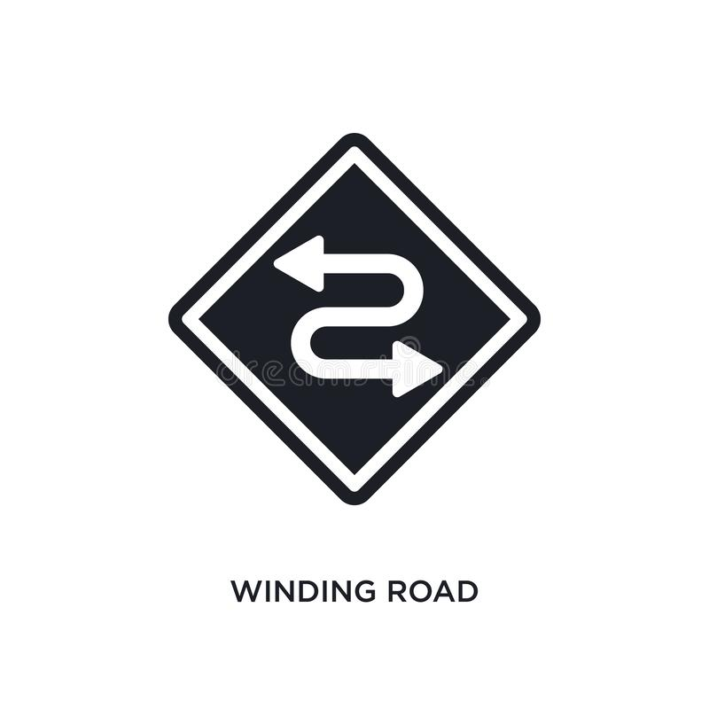 Winding road isolated icon. simple element illustration from traffic signs concept icons. winding road editable logo sign symbol. Design on white background stock illustration